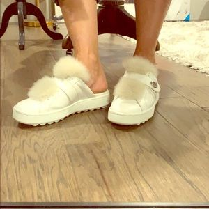 Coach shearling mules slides sneakers